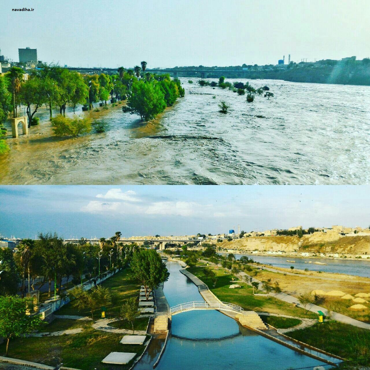 عکس:پارک ساحلی دزفول قبل و بعد از سیلاب